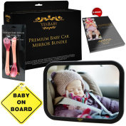 Baby Car Mirror Bundle - Improved Shatterproof Glass - Best Backseat Baby Mirror for Car - The Clearest & Largest - Fully Assembled & Adjustable - Crash-tested- Back Seat Rear-Facing Infant and Sight