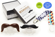 B.B. Moustache Pacifier 2-Pack with Pacifier Clip by Bodacious Bambino | The Horseshoe & Handlebar - Cute & Funny Pacifiers for Babies | BPA-Free