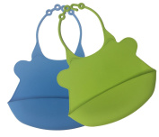 Akeekah Silicone Bib- Soft, Waterproof & Bacteria Resistant, 2 Pack (Blue and Green), Easy Clean and Roll-up, Dishwasher safe, BPA Free