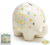 Burton and Burton Ceramic Bank Elephant, White with Polka Dots, 15cm H