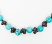 100% Certified Balticamber Pop Clasp Baby Necklace with Gemstones, Turquoise, 28cm