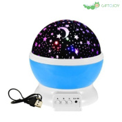 giftojoy Romantic Night Lamp, 360 Degree Rotating Projection Lamp with Moon, Starry Sky Projection, Bedroom Night Lamp for Kids