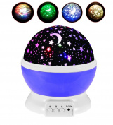 HJIAN LED Night Light Projector Lamp 3 Models Light Kids Bedroom Children's Room Romantic Rotating Cosmos Star Sky Moon Projector Baby Nursery Décor Decorative Light