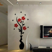 Ussore DIY Vase Flower Tree Crystal Arcylic 3D Wall Stickers Decal Home Decor for Home Decoration Living room Doors Laptops Cars Tiles
