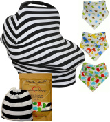 Baby Car Seat Cover + Drool Bib Gift Set w/ Drawstring Carry Bag and Three Bandana Drool Bibs in Unique Gift bag