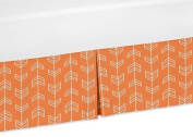 Sweet Jojo Designs Orange and White Crib Bed Skirt Dust Ruffle for Navy Arrow Collection Bedding Sets