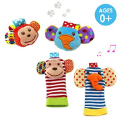 Daisy 4 x Animal Infant Baby Kids Wrist Rattle & Foot Finder Set Developmental Soft Toys - Monkey and Elephant