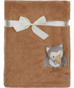 Baby's Cuddly Blanket with 3D application / Blanket 76 x 102 cm(Brown/Owl