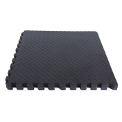 24x 60cm Black Square Foam Floor Mats for Gyms Childrens Playrooms Garages 29m²
