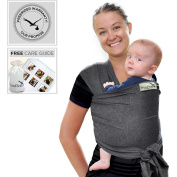 FREERIDER Premium Baby Carrier Wrap Sling | Neutral Grey | Instruction Booklet | Suitable for Newborns & Toddlers to 16kg 15kgs | Carry Bag |Soft Cotton & Spandex Blend | FreeRider Guarantee