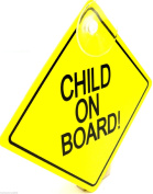 Child On Board Sign with Suction Cup Vehicle Safety Bright Child Board Car Sign