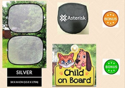 Car Sun Shades for babies and children - Bonus CHILD ON BOARD car sign – Silver Car Sun Shields / Protectors for side and rear window – 2 pack - Blocks harmful UV rays – Our car blinds protect your baby, child and pet from sun glare and heat