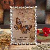 American vintage 15cm white pearl flowers bloom Alloy frame wedding gift to send his girlfriend picture frame swing sets