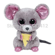 "New TY Beanie Boos Stuffed Animal Squeaker Mouse with Cheese 15cm/6"" Cute Big Eyes Ty Plush Animals Kids Toys for Children by ToySDEPOT"