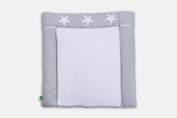 Lulando Changing Mat with 2 Removable Waterproof Covers 76 x 76 cm 100% Cotton Frotte, Farbe:White Dots / Grey Stars