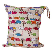 2-Zip Washable Baby Cloth Nappy Nappy Bag Elephant Pattern