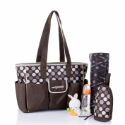 Fashion Brown Waterproof Mummy Handbag Baby Nappy Nappy Carry Bag Case Nursery Changing Bag ( Dot )Storage Baby's Bottles Nappies / 44 x 30 x 13cm