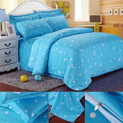 Nicehomedo Cotton Blue Stars Moon Printing Bedding Set Bed Sheet Duvet Cover Pillowcase Single Queen Size
