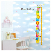 Samber Children's Height Chart Animal Zoon Wall Stickers for Children's Room Kindergarden