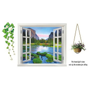 Samber Green Plants Window Views Wall Stickers For Living Room Bedroom Decoration