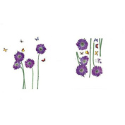Samber Purple Flower Butterfly Wall Sticker PVC Material for Home Decoration