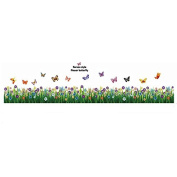 Samber Butterfly Flower Grass Wall Stickers for Decorate Bedroom Living Room Skirting Line