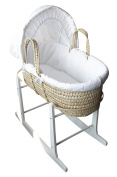 Full set Palm Moses Basket with Quilted Mattress, White Cover and White Rocking Stand