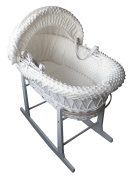 Mother Nurture Full Set White Wicker Moses Basket with Quilted Mattress