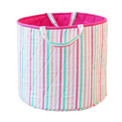 Simply Storage Multi Colour Striped Storage Basket Large - striped storage basket, round storage basket, large fabric storage baskets - great for toy storage, kids storage and as a laundry hamper