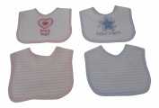 Premature Baby Bibs Set 2 Piece With Embroidery (Pink)