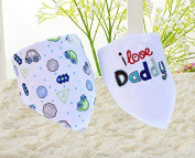 ZebraStory 2 Pieces Baby Bandana Drool Bibs Embroidery Feeding Cloth Two Layers Cotton Burp Scarf with Ajustable Snaps
