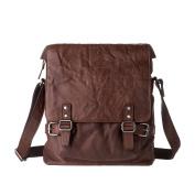 Messenger bag for men Vintage Wrinkled Leather Shoulder Crossbody Flapover Handbag DUDU Brown