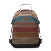 Backpack Multi-Colour Striped Women's Large Canvas Stylish Satchel Tote Crossbody Bag Handbag