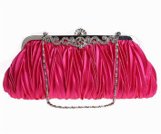 ISHOW Evening Bags Pleated Satin Ribbon Cluth Purses Detachable Chain Strap