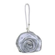 Dilize Women's Rose Flower Silk Evening Clutch Mini Wrist Bag Money Pouch