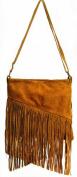 Handbag Bliss Italian Suede Diagonal Cut Tassel Fringed Cross Body / Shoulder Bag