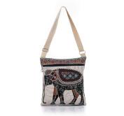 Nawoshow Bohemian Owl / Elephant Embroidered Pattern Shoulder Bag Crossbody Bag Messenger Shopping Bag