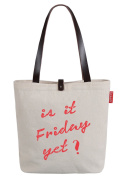 So'each Women's Is It Friday Letters Letters Top Handle Canvas Tote Shoulder Bag