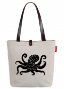 So'each Women's Marine Life Octopuss Top Handle Canvas Tote Shoulder Bag