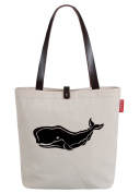 So'each Women's Marine Life Whale Letters Top Handle Canvas Tote Shoulder Bag