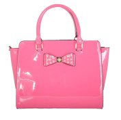 Ladies Women's Fashion Designer Quality Patent Bow Tote Bag Faux Leather Shinny Handbag With Strap CWS00176 CWS00384 CWS00386