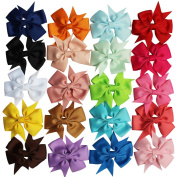 iEFiEL 20 Colours Ribbon Hair Bows with Alligator Clips for Baby Girls Kids Hair Accessories
