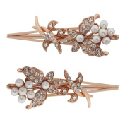 Pair of Rose Gold Crystal and Pearl Butterfly Flower Clips / Bridal Hair Slides Bobby Pins / Wedding Hair Pins