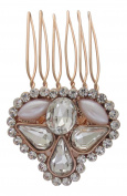 Pick A Gem Rose Gold Crystal Rhinestone and Pearl Wedding Hair Comb / Bridesmaid Clip