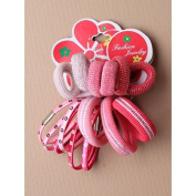 Hair Elastics - Set of 9 tonal pink thick elastics and 6 daisy print bobble elastics.