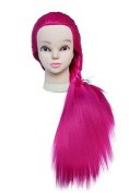 TOPBeauty Red Synthetic Hair Hairdressing Practise Training Head Doll Mannequin With Clamp