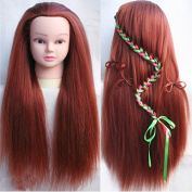 TOPBeauty Wine Red Synthetic Hair Hairdressing Practise Training Head Doll Mannequin With Clamp