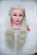 TOPBeauty Bleach Blonde Synthetic Hair Hairdressing Practise Training Head Doll Mannequin With Clamp