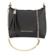 Chain Strap PU Leather Cross Body Shoulder Bag Tassel Zip Open Women Handbag