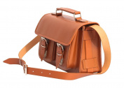Cognac 25cm Leather Small Satchel Bag | Womens Trunk Handbag